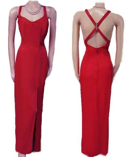 VINTAGE NITE KRAZE EVENING GOWN WITH A FABULOUS RHINESTONE STRAPY BACK IN FIFTH AVENUE RED