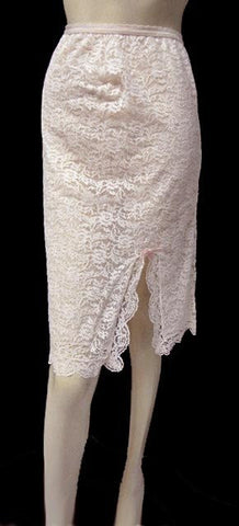 VINTAGE '50s / '60s GLYDONS PETTI-SLIP PLUS LACE HALF SLIP IN DUSTING POWDER WITH PINK BOW