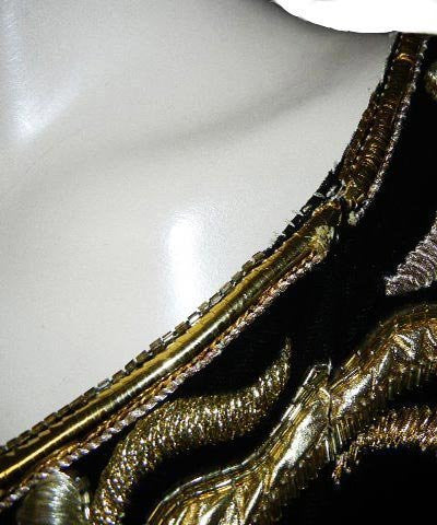 FROM MY OWN PERSONAL COLLECTION - SOPHISTICATED VINTAGE ONE SHOULDER GODDESS BLACK VELVET & GOLD EVENING GOWN