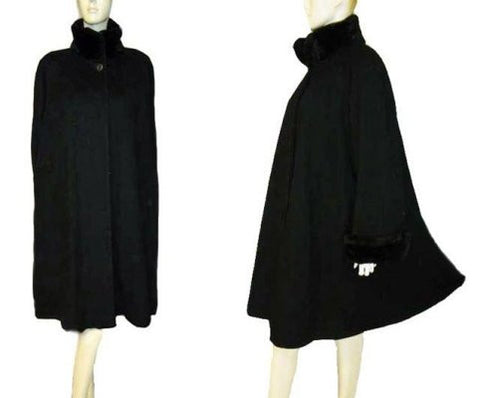 BEAUTIFUL STEVE BY SEARLE BLACK WINTER COAT WITH FAUX FUR COLLAR & CUFFS - SIZE 14