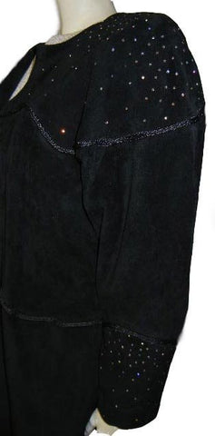 SOPHISTICATED CACHE SPARKLING RHINESTONE BLACK SUEDE JACKET