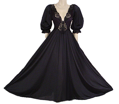 LUSCIOUS RARE STYLE OLGA SPANDEX LACE NIGHTGOWN WITH SLEEVES IN THUNDER