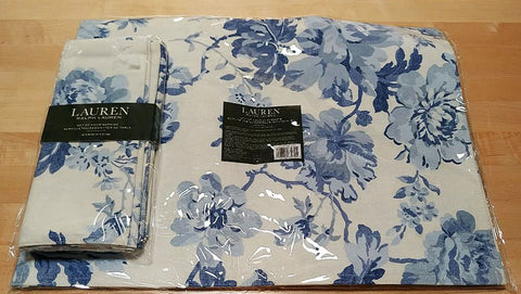 BRAND NEW & BEAUTIFUL - NEW RALPH LAUREN BLUE & WHITE FLORAL PLACEMATS (4), NAPKINS (4) PLUS A LONG WIDE RUNNER (1) - SET #1