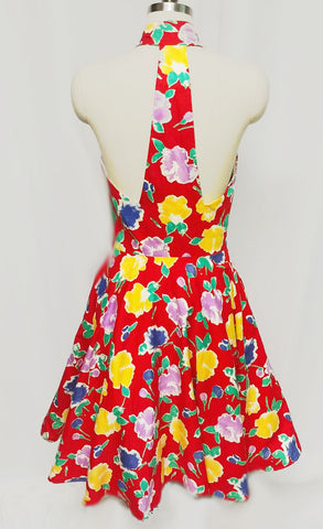 VINTAGE '70s A. J. BARI  RED FLORAL HALTER DRESS WITH T BACK WITH ATTACHED CRINOLINE