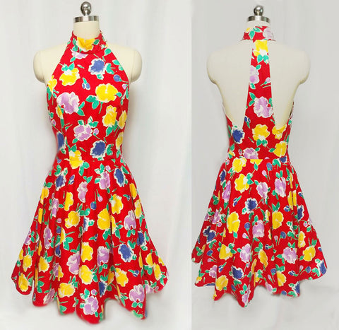 "VINTAGE '70s A. J. BARI  RED FLORAL HALTER DRESS WITH A ""T"" BACK & ATTACHED CRINOLINE"