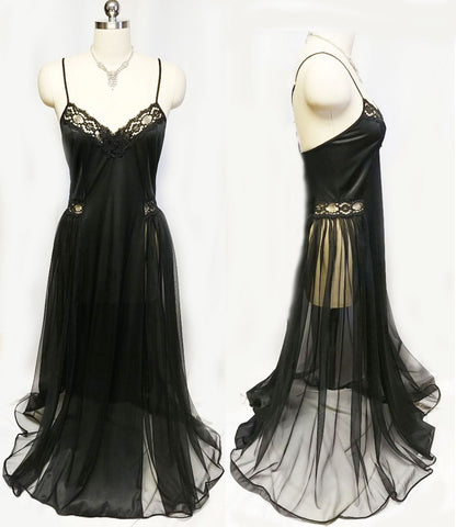 VINTAGE ADONNA LACE BLACK SHEER SIDED GRAND SWEEP NIGHTGOWN WITH BEADED AND SEQUIN APPLIQUE  - LARGER SIZE