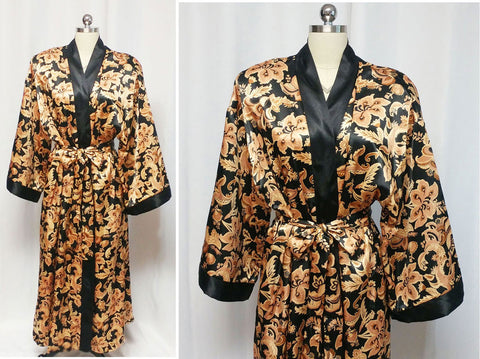 BEAUTIFUL LUXURIOUS BLACK & GOLD ADONNA HEAVY SATIN PEIGNOIR DRESSING GOWN - LARGE / EXTRA LARGE
