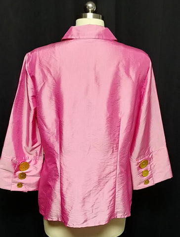 NEW WITH TAGS - DEEP ROSE SILKY BLOUSE OR JACKET IN SIZE LARGE