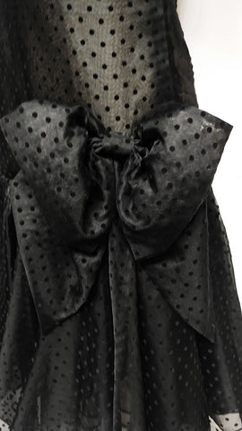 NEW OLD STOCK - VINTAGE '80s ALBERT NIPON BOUTIQUE SILK VELVETY SWISS DOTS FLOCKED DRESS WITH HUGE BOW