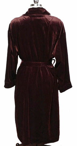 LUXURIOUS AMANDA STEWART INTIMATES VELOUR WRAP ROBE IN COFFEE BEAN