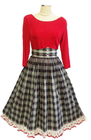 VINTAGE ANGELIKA MODEM GRAND SWEEP PLAID SKIRT MADE IN WEST GERMANY ADORNED WITH FLOUNCE AND HEARTS