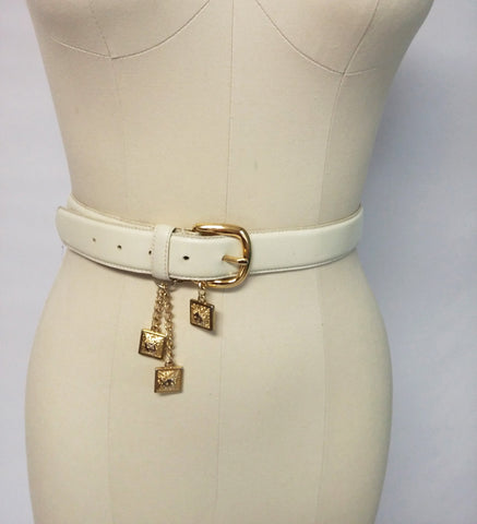 SOLD - VINTAGE ANNE KLEIN GENUINE LEATHER BELT WITH LION LOGO METAL HANGING DECORATIONS & CHAINS
