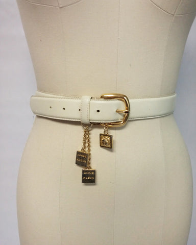 VINTAGE ANNE KLEIN GENUINE LEATHER BELT WITH LION LOGO METAL HANGING DECORATIONS & CHAINS