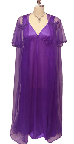 VINTAGE ANTHONY RICHARD SHEER PEIGNOIR & NIGHTGOWN SET IN AFRICAN VIOLET