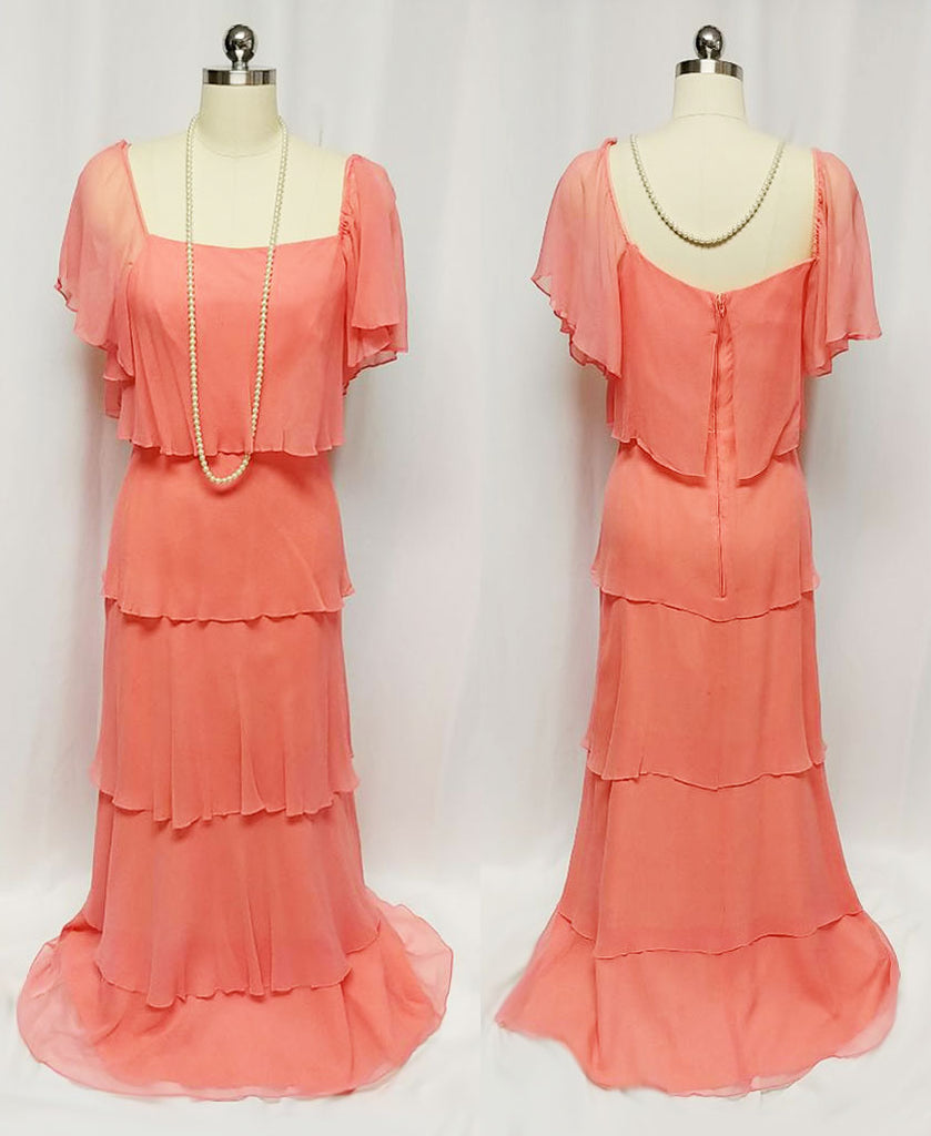 GLAMOROUS VINTAGE '60s / '70s 5-TIER TITANIC-LOOK CHIFFON EVENING GOWN IN APRICOT