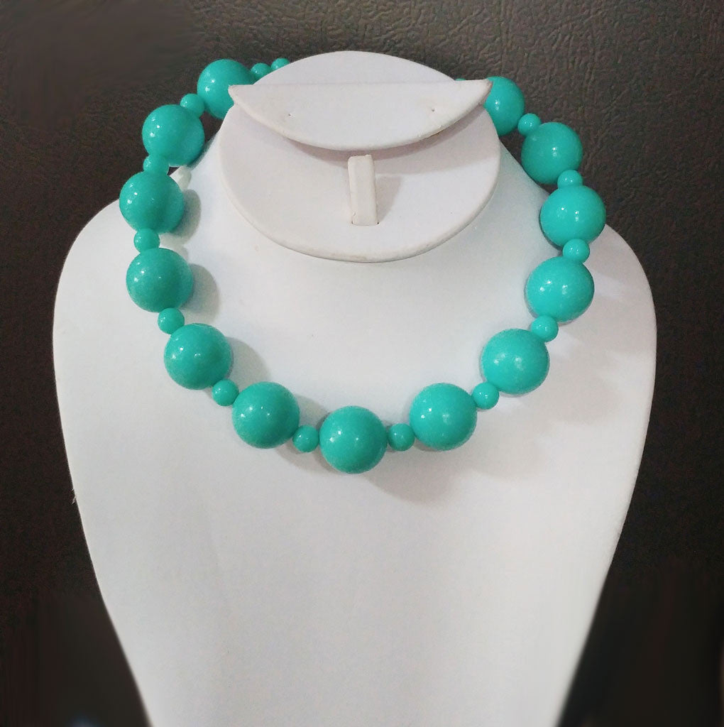 FROM MY OWN PERSONAL COLLECTION - VINTAGE LARGE AQUA BEADED NECKLACE - PERFECT FOR SUMMER