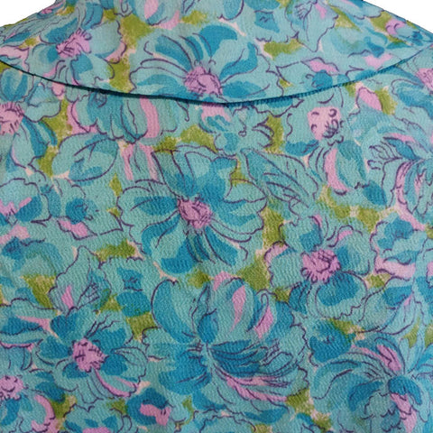 VINTAGE AQUA & PINK FLORAL PETER PAN COLLAR SPRING/SUMMER DRESS WITH MATCHING BELT