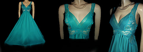 VINTAGE RARE STYLE & COLOR VANDEMERE BY OLGA PLEATED CHIFFON & LACE BODICE SPANDEX NIGHTGOWN IN AQUATIC TURQUOISE