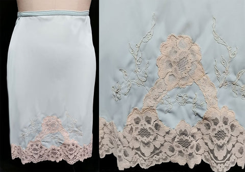 NEW OLD STOCK - EXQUISITE VINTAGE '60s ARISTOCRAFT BY SUPERIOR SLIP DRIPPING WITH LACE AND SOUTACHE EMBROIDERY - LOOKS AS THOUGH IT HAS NEVER BEEN WORN