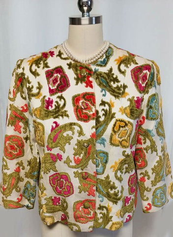BEAUTIFUL VINTAGE ADELAAR'S ARISTOCRAT TAPESTRY CUT VELVET JACKET