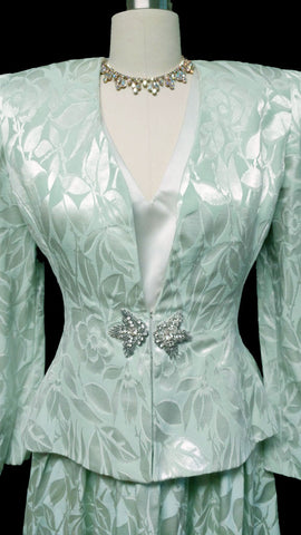 VINTAGE ARTHUR DOUCETTE SAKS FIFTH AVENUE MINT GREEN BROCADE EVENING JACKET AND LONG DRESS
