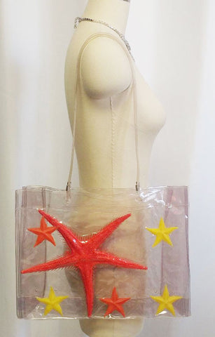 ADORABLE & UNIQUE VINTAGE 1980s AVANT DE DORMIR POP ART STARFISH PURSE -  MADE IN ITALY