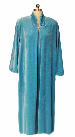 NEW - DIAMOND TEA LUXURIOUS ZIP UP FRONT VELOUR ROBE IN AZURE - SIZE LARGE