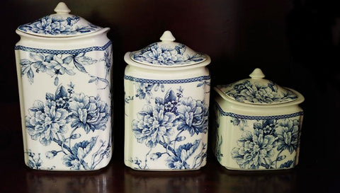 NEW - BLUE AND WHITE CHINA ADELAIDE BIRD & FLORAL 6-PIECE CANISTER SET