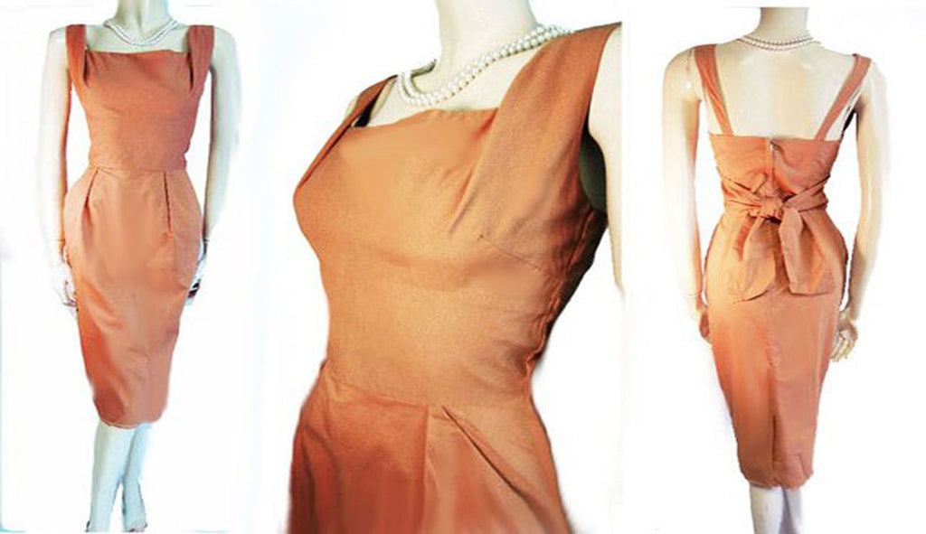 VINTAGE 1950s ALFRED SHAHEEN BOMBSHELL PINUP DRESS WITH METAL ZIPPER IN COPPER