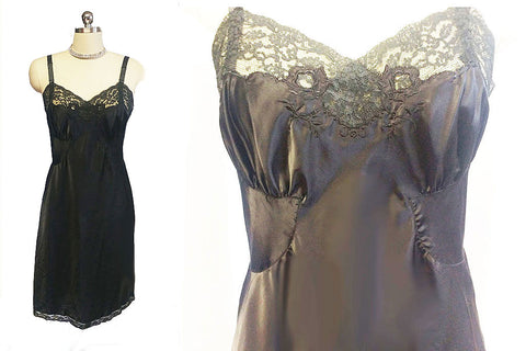 VINTAGE SOPHISTICATED ENCHANT BARBIZON SATIN SYLFAIRE BLACK LACE EMBROIDERED APPLIQUES SLIP