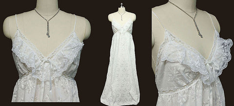 VINTAGE BARBIZON LACE & SATIN RIBBON BRIDAL TROUSSEAU BURNOUT FABRIC NIGHTGOWN