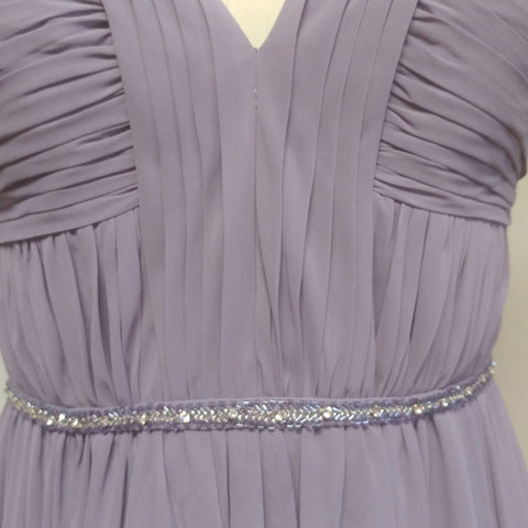 FROM MY OWN PERSONAL COLLECTION - GORGEOUS BARI JAY SILVER SPARKLING RHINESTONES, PURPLE AND SILVER SHOT BEADED CHIFFON EVENING GOWN IN SPRING VIOLET