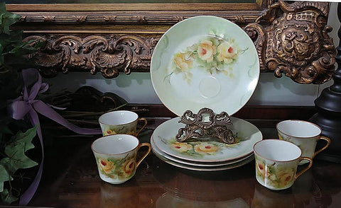 VINTAGE BAVARIA, GERMANY HAND PAINTED YELLOW ROSES LUNCHEON PLATES & CUPS / SNACK PLATES