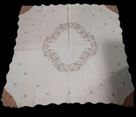 VINTAGE IVORY LINEN CROSS STITCHED TABLECLOTH WITH HEAVY ECRU LACE