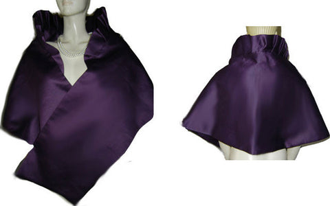 ELEGANT VINTAGE BETMAR DUCHESS SATIN PLEATED EVENING STOLE IN ROYAL PLUM - PERFECT FOR THE HOLIDAYS