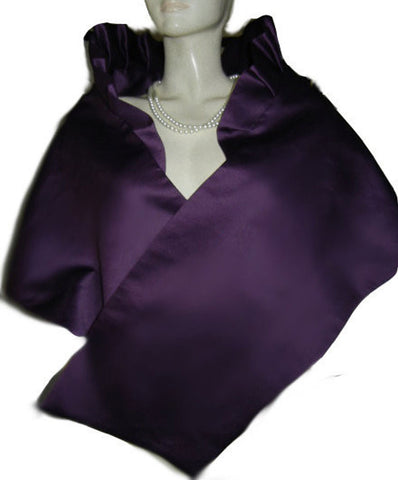 ELEGANT BETMAR DUCHESS SATIN PLEATED EVENING STOLE IN CREME DE CASSIS - PERFECT FOR THE HOLIDAYS