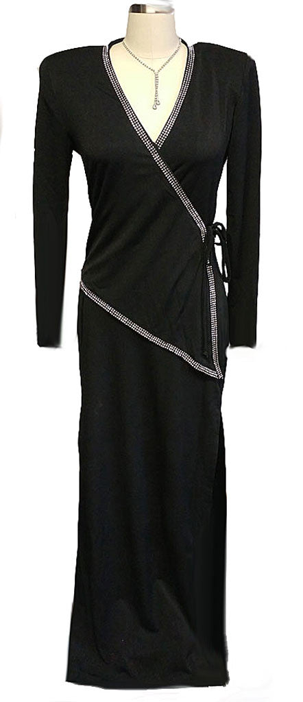 GORGEOUS '30s LOOK BETSY & ADAM SURPLICE SPANDEX SPARKLING RHINESTONE EVENING GOWN - PERFECT FOR HOLIDAY PARTIES & NEW YEAR'S EVE