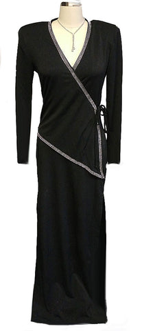 GLAMOROUS '30s LOOK BETSY & ADAM SURPLICE SPANDEX SPARKLING RHINESTONE EVENING GOWN - PERFECT FOR HOLIDAY PARTIES & NEW YEAR'S EVE