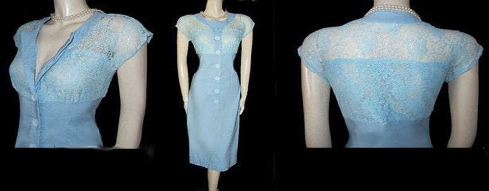 RETRO LOOK BETTIE PAGE LAS VEGAS 2-TONE BLUE LACE & SPANDEX WIGGLE DRESS - SIZE LARGE