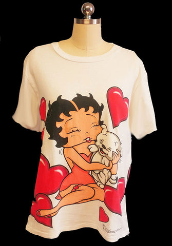 VINTAGE BETTY BOOP HEARTS AND PUPPY TEE SHIRT - ADORABLE!