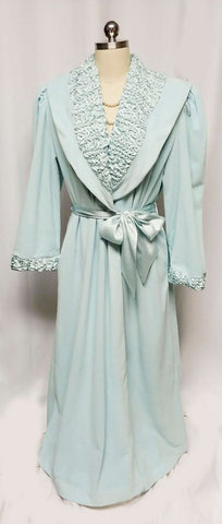 VINTAGE MADE IN ITALY 1980s SATIN & VELOUR WRAP ROBE IN AQUAMARINE - NEW WITH TAG - SIZE MEDIUM - WOULD MAKE A WONDERFUL BIRTHDAY OR CHRISTMAS PRESENT!