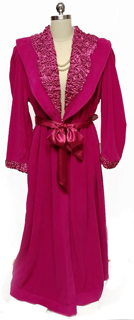 NEW WITH TAG - VINTAGE MADE IN ITALY 1980s SATIN & VELOUR WRAP ROBE IN RUBY -  SIZE LARGE - WOULD MAKE A WONDERFUL BIRTHDAY OR CHRISTMAS PRESENT!
