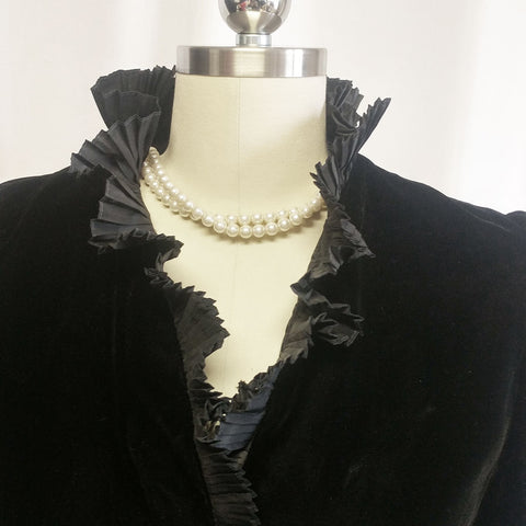 VINTAGE 1980 BILL BLASS COLLECTIONS III BLACK VELVET OR VELVETEEN EVENING JACKET - PERFECT OVER EVENING GOWNS, COCKTAIL DRESSES OR WITH JEANS