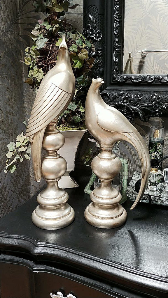 BEAUTIFUL TALL SILVERY ASIAN BIRDS OF PARADISE HEAVY HOME DECOR FIGURINES STATUES