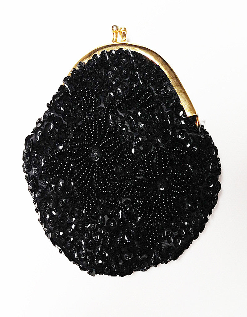 VINTAGE HAND MADE MID CENTURY SPARKLING BLACK HEAVILY BEADED SEQUIN COIN PURSE