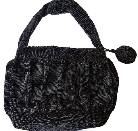 VINTAGE 1940s BLACK BEADED PURSE WITH TONS OF TINY BEADS AND A BEADED POM POM PULL