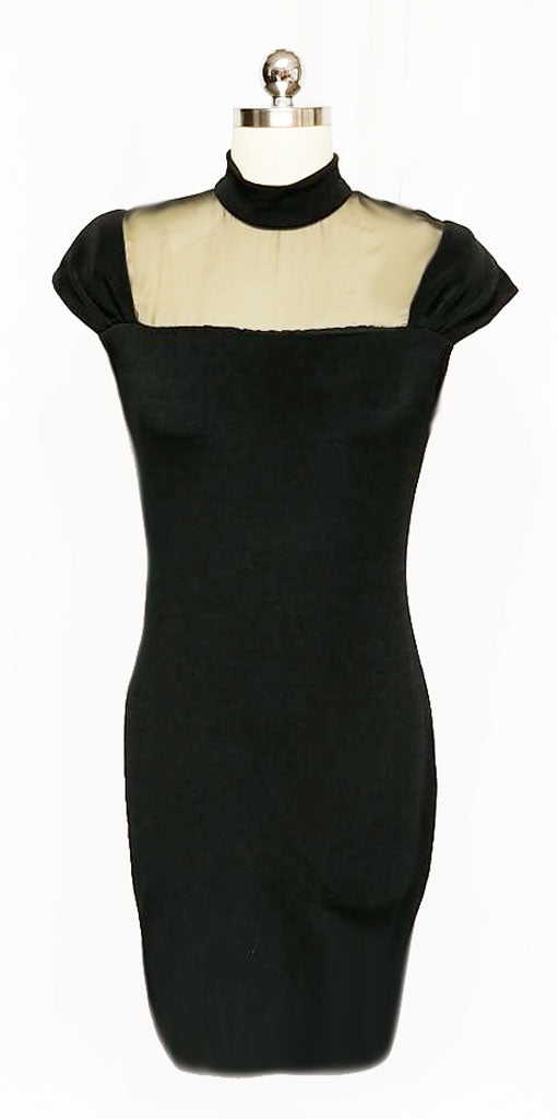 VINTAGE '80s BLACK SPANDEX ILLUSION COCKTAIL DRESS