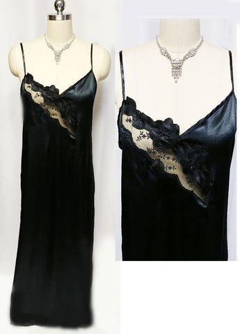 NEW OLD STOCK - MADE IN ITALY '80S BLACK SATIN NIGHTGOWN WITH FLORAL & LEAF APPLIQUES