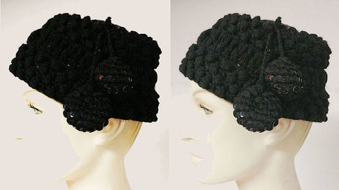 VINTAGE WOOL KNIT HAT WITH SPARKLING SEQUIN CROWN & POM POM TASSELS