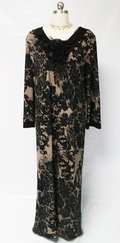 NEW - GORGEOUS DIAMOND TEA BLACK LACE & ESPRESSO DRESSING GOWN CAFTAN ADORNED WITH PLEATED FLOWERS, LEAVES, RIBBONS & SPARKLING BEADS